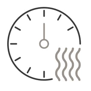 An icon of a timer. A thermometer is superimposed in the corner