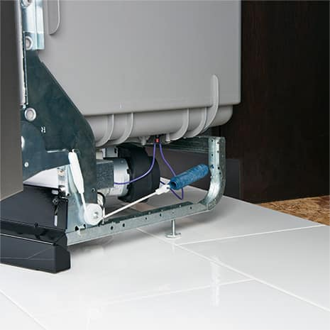 Shot of dishwasher with the parts making it ADA compliant
