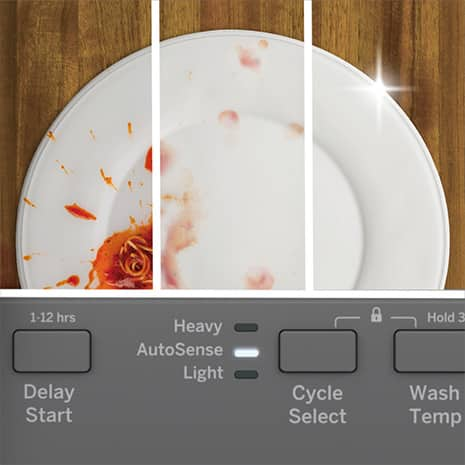 Split screen of a dish that shows it dirty and gets cleaner moving to the right. The control panel is shown with the AutoSense cycle selected