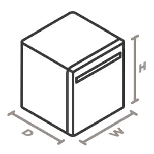An icon of the appliance viewed from a corner looking down. Lines designate and measure the height, width, and depth of the appliance.