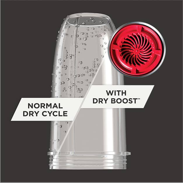 Shot of half dry and half wet blender bottle and Twin Turbo Fan to show a Normal Dry Cycle vs. Dry Boost