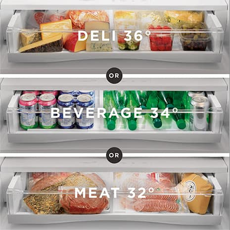 Image showing the deli, beverage, and meat temperature settings with propping for each