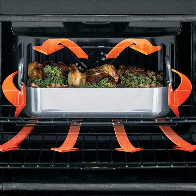 Tight shot of meat cooking in oven with arrow graphics surrounding food to show heat circulation