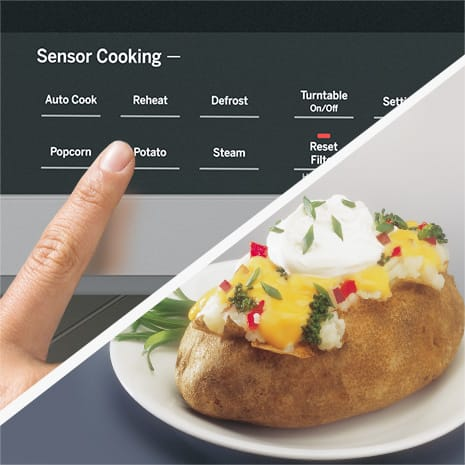 Split screen of microwave controls and perfectly cooked potato with toppings