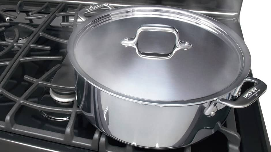 Covered pot on gas range