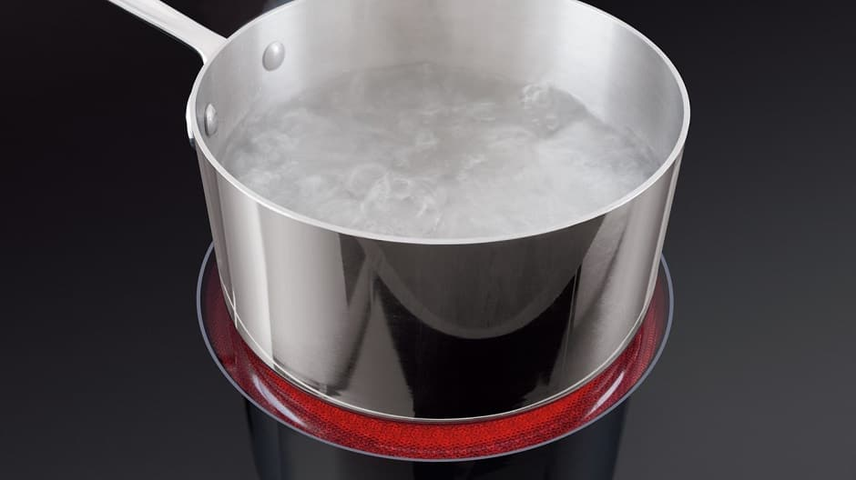 Pot of boiling water on electric range