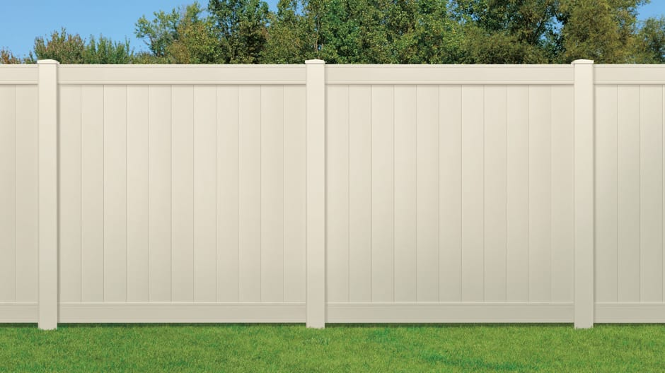 A close up shot to show two full panels installed in a yard as a property divider