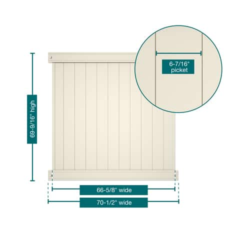 """A picture of the fence showing the measurements. This panel is 69-9/16"""" tall, 70-1/2"""" wide with 6-7/16"""" pickets"""