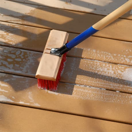Close up of the deck boards showing how to properly clean your deck