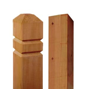 Close up of a pressure-treated double v and square edge posts