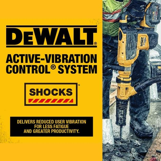 SHOCKS Active Vibration Control reduces vibration felt by the user at the handles. A DEWALT Perform and Protect feature.