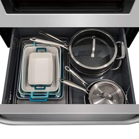 Pots and pans in storage drawer