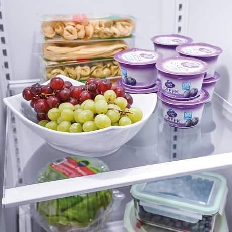 Grapes on refrigerator shelf