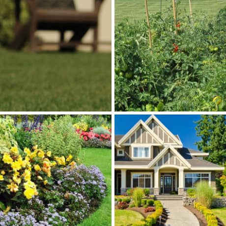 Exterior photo composition of lawn, garden, flower bed and manicured walkway.