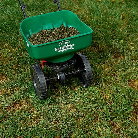 Scotts Turf Builder Thick'R Lawn Product in Broadcast Lawn Spreader