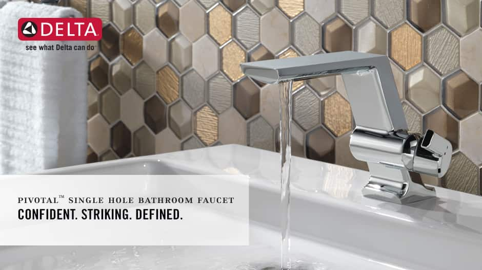 "Image depicts a faucet with water running with text ""Confident. Striking. Defined."""