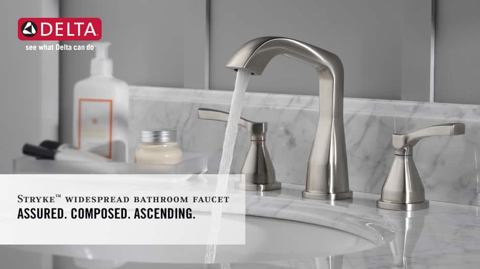 """Image depicts a faucet with water running with text """"Assured. Composed. Ascending."""""""