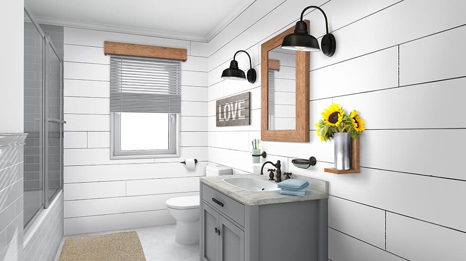 White barnwood shiplap used as an accent wall for the bath room