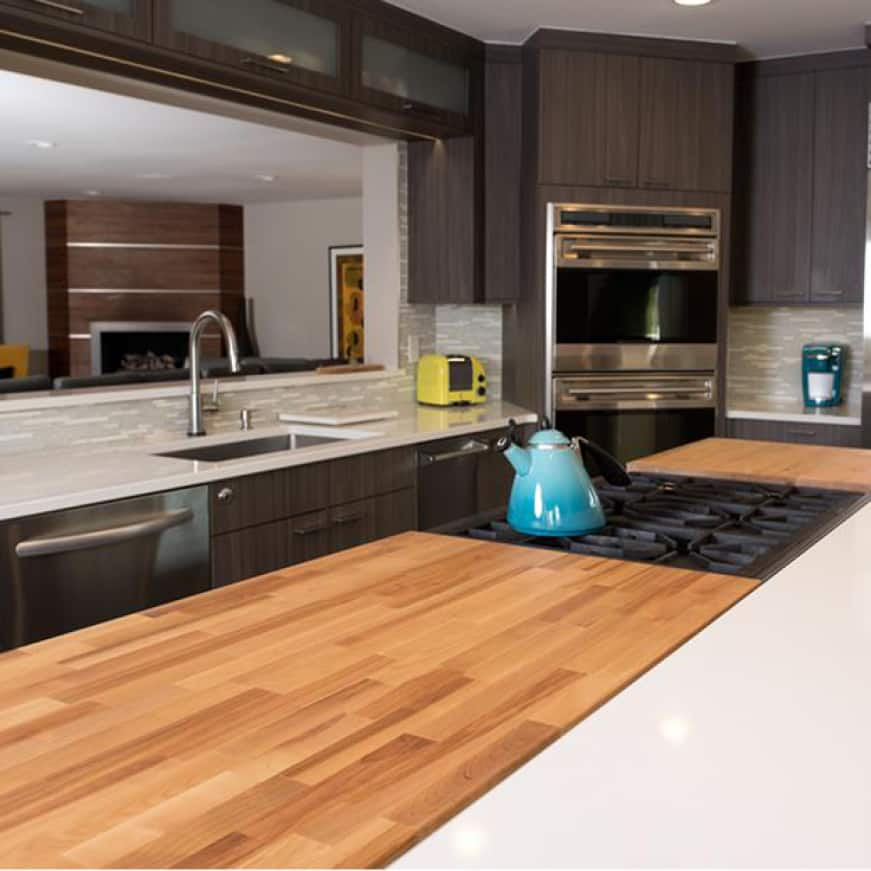 Hardwood Reflections Unfinished Birch Butcher Block Countertop Installed in a Kitchen