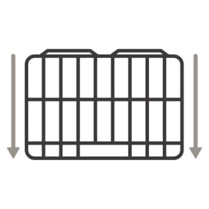 An icon of one of the smooth-glide roller racks.Arrows show it sliding out smoothly.