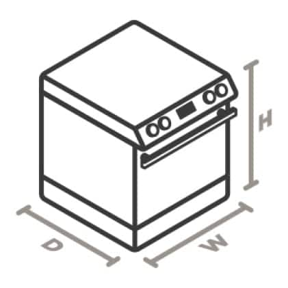 An icon of a range viewed from a corner looking down.Lines designate and measure the height, width, and depth of the appliance.