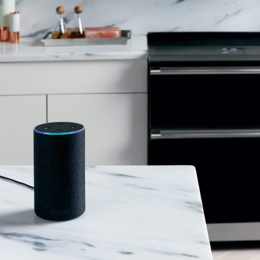 Amazon Echo sitting on counter with range in background