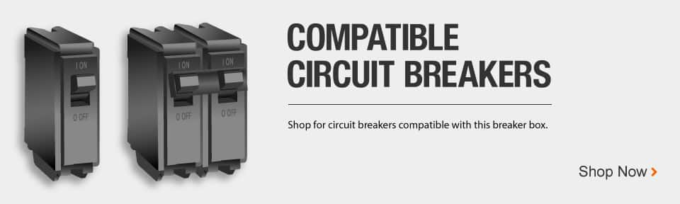 Shop for circuit breakers compatible with this breaker box. Image of generic circuit breakers.