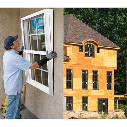 Man installing replacement window and picture of new construction home