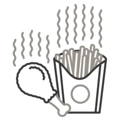An icon of a chicken leg and a fries. Heat waves rise from the food as they reheat.