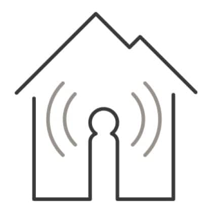 An icon of a home.Signal waves from the center of the house illustrate the home's wifi capabilities.