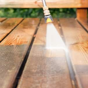Power Washer on Wood Deck