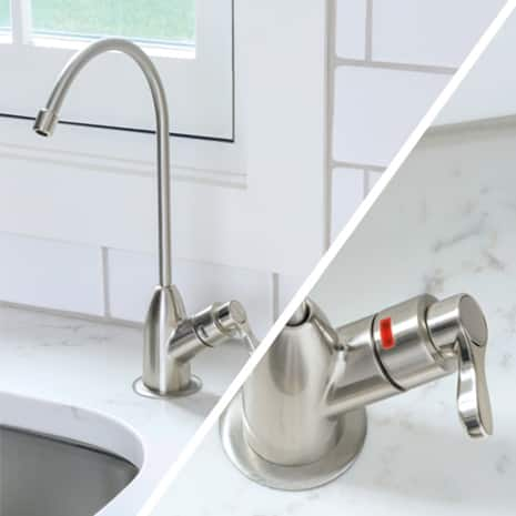 Reverse Osmosis faucet and close up of red indicator light