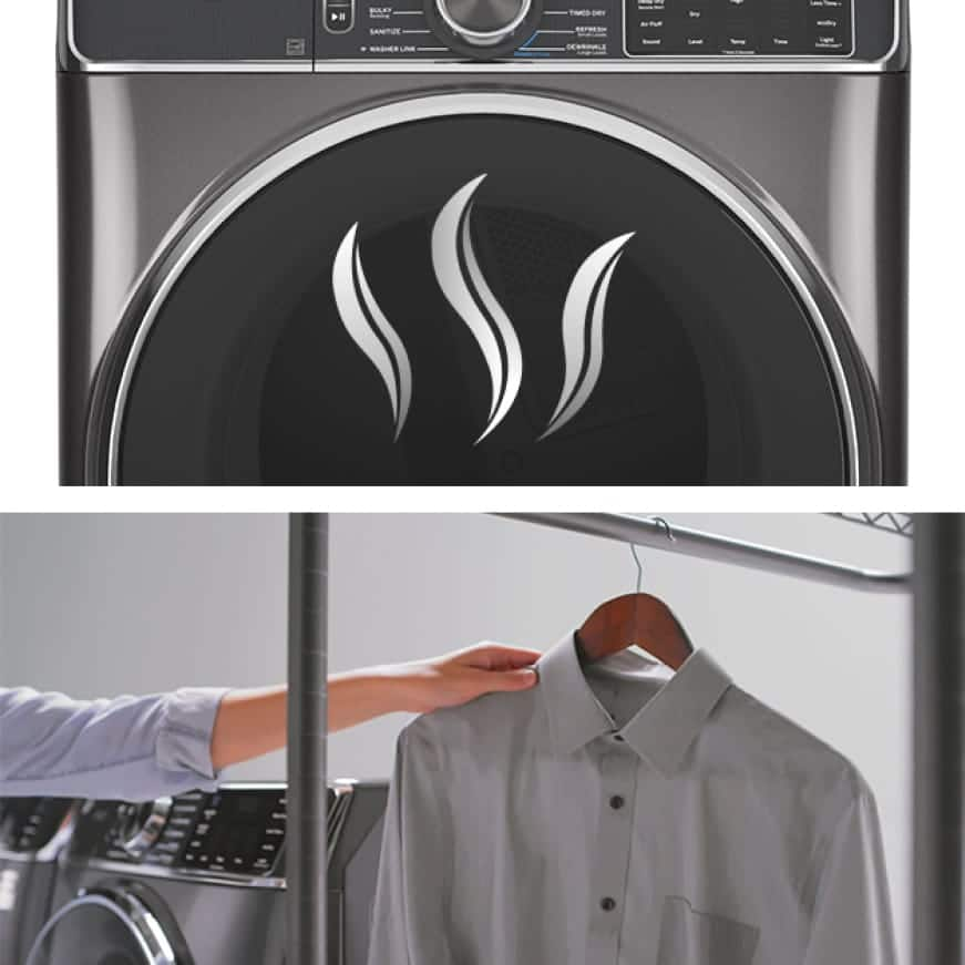 The image is split into two parts, The upper half shows the front of the dryer, The lower half shows a hand hanging a freshly steamed shirt on a rack
