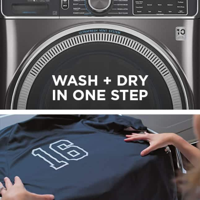 A split frame shows the front side of the washer and a hand laying a tshirt on to a flat surface.