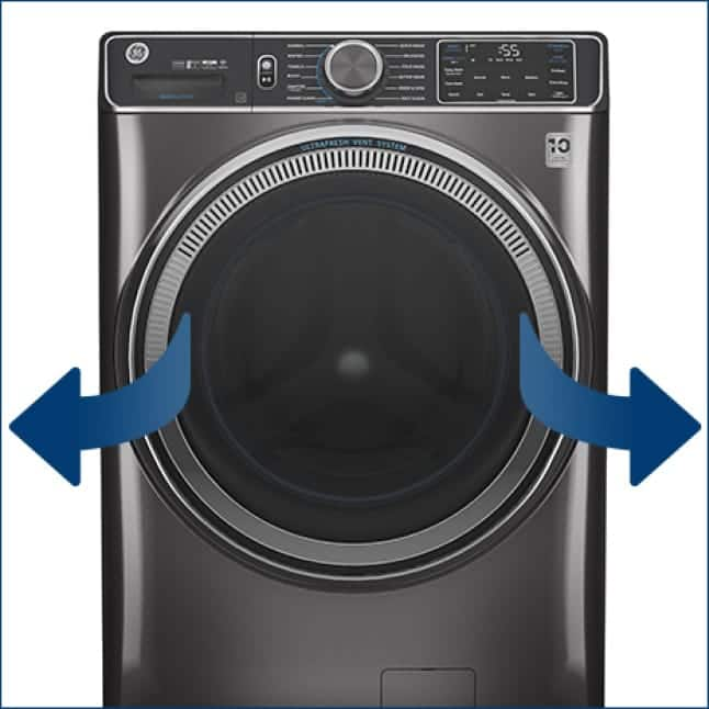 Arrows over the front of the washer depict both ways that the door can open to accommodate all laundry rooms.