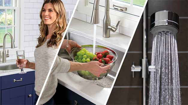 woman drinking a glass of water, woman washing fruit in the sink and a shower head spraying