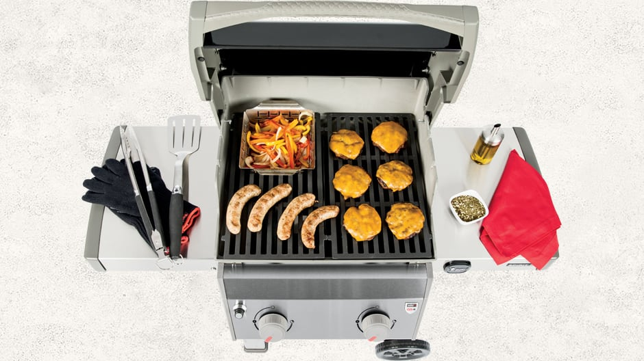 open grill with food