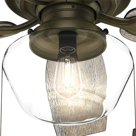 The Hunter Crown Canyon ceiling fan with globe light kit.