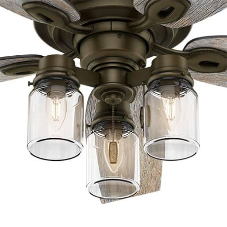 The Hunter Crown Canyon ceiling fan with lights includes LED light bulbs.