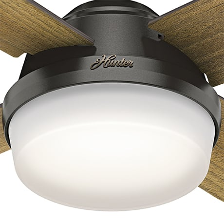 The Hunter Dempsey modern ceiling fan with lights includes LED light bulbs.