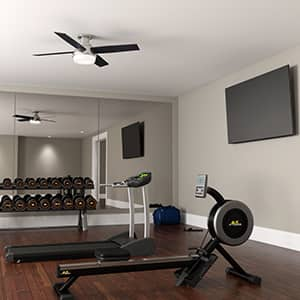 The Hunter Dempsey modern ceiling fan with lights in a modern style home gym.