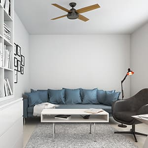 The Hunter Dempsey modern ceiling fan without lights in a modern style living room.