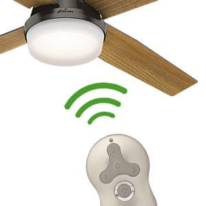The Hunter Dempsey modern ceiling fan with lights and handheld remote control.
