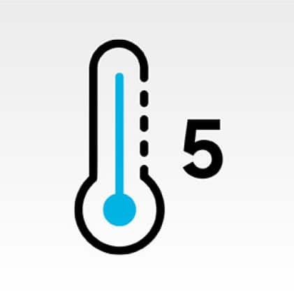 Thermometer icon with number 5 next to icon.