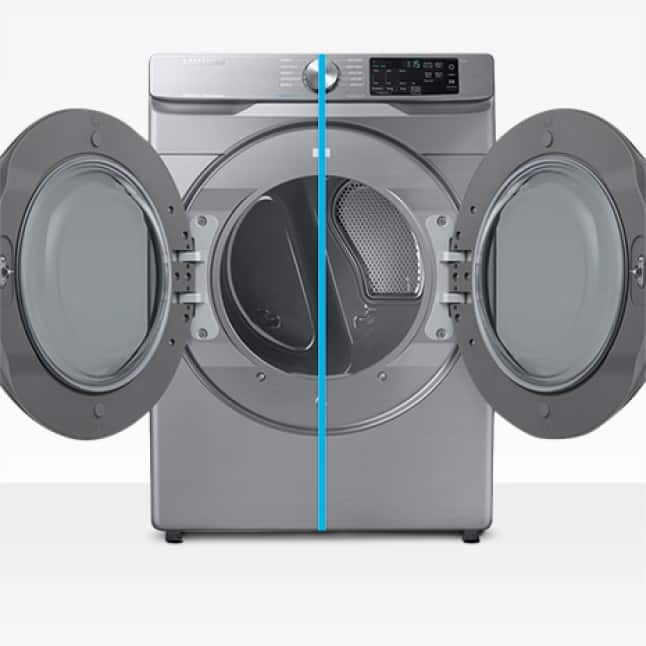 Dryer split down middle with line showcasing how door is reversible and can open to the right or left.