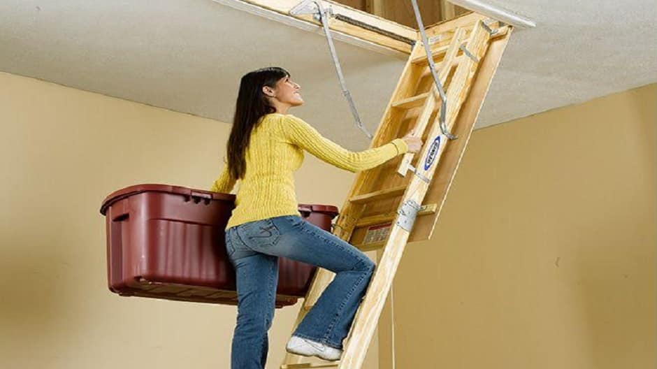 Woman carrying box up the attic ladder