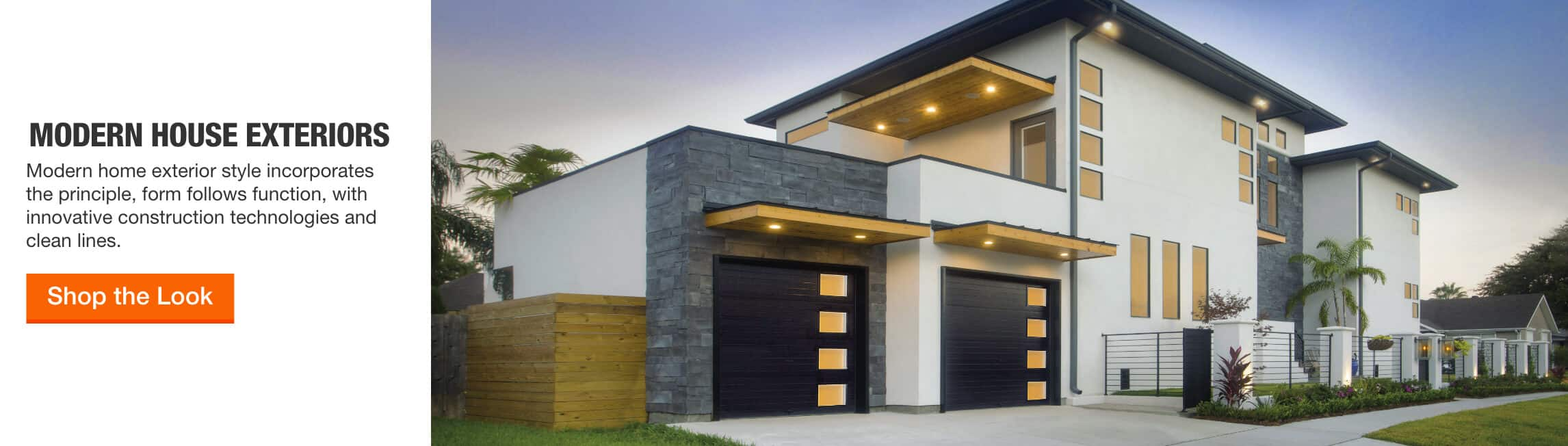 Modern House Exteriors - Modern home exterior style incorporates the principle, form follows function, with innovative construction technologies and clean lines. > Shop the Look