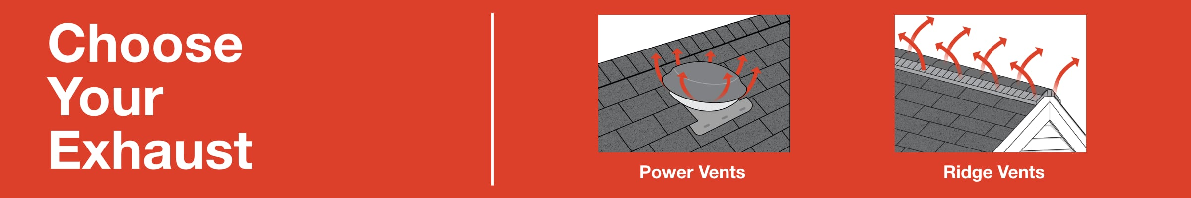 Choose your exhaust - graphic detailing types of roofing exhaust vents