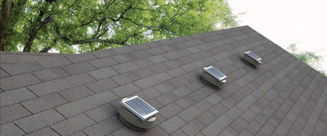roof showing three solar powered vents