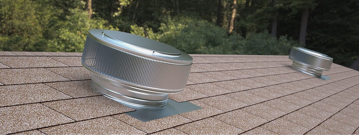 roof with two silver round vents